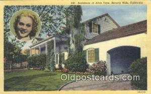 Alice Faye, Beverly Hills, CA, USA Movie Star, Actor / Actress, Post Card Pos...
