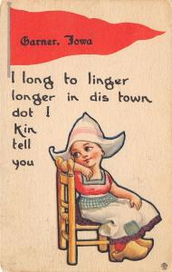 I Long to Linger Longer in Garner Iowa~Dot I Can Tell You~1913 Pennant PC