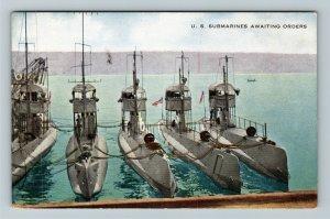 United States Navy Submarines Awaiting Orders Vintage Postcard