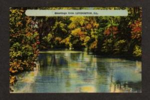 IL Greetings from LIVINGSTON ILLINOIS Postcard Linen PC