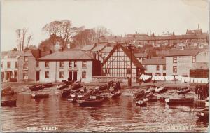 The Beach Saltash Cornwall UK Bennetts Union Inn Boats  Unused RPPC Postcard E59