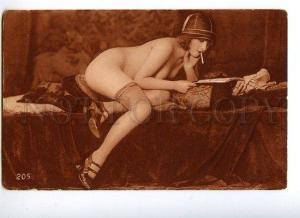 128984 Smoiking NUDE Woman READING Vintage PHOTO NOYER #205 PC