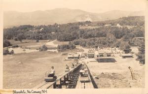 North Conway New Hampshire~View Down Skimobile~Lodge at Bottom~1940s RPPC