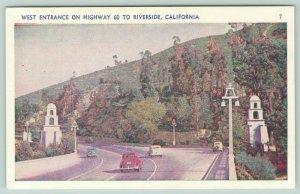 Riverside California~West Entrance~Highway 60~Postcard
