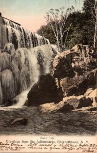 New York Greetings From The Adirondacks Elizabethtown Rice's Falls 1906