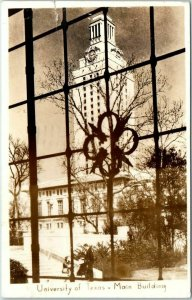 1947 UNIVERSITY OF TEXAS Real Photo RPPC Postcard Main Building Austin Cancel
