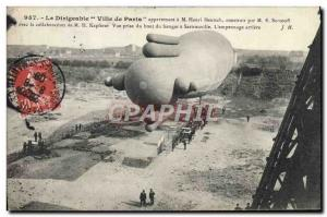 Old Postcard Jet Aviation Zeppelin Airship City of Paris belonging to M Henry...