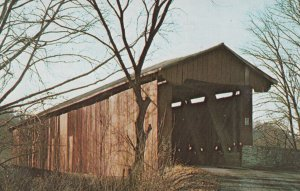 RIPLEY COUNTY, Indiana, 1940s-Present; Busching Covered Bridge Over Laughery ...