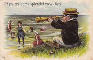 There are some splendid views here, Man watching girls with spy glass, PU-1909