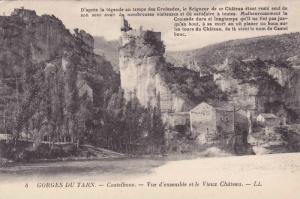 Castelbouc, Vue d'Ensemble Et Le Vieux Chateau, Gorges Du Tarn (Lozere), Fran...