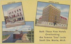 Michigan Marie Park Hotel & Ojibway Hotel Both These Fine Hotels Overlooking ...