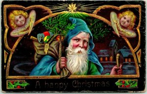 Vintage 1912 HAPPY CHRISTMAS Postcard SANTA CLAUS in BLUE ROBE w/ Bag of Toys