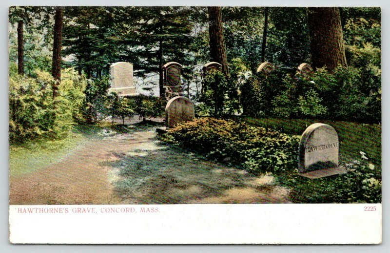 Concord MA~Author Nathaniel Hawthorne's Grave~Cemetery~Tombstones~c1905