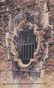 Rose Window at San Jose Mission - San Antonio TX, Texas - pm 1944 - Linen