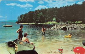 South Casco Maine~Sebago Lake Beach @ Migis Lodge~Ladies in Boat~Boy & Man~1950s