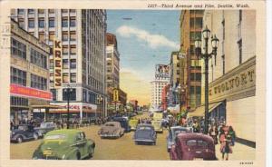Washington Seattle Third Avenue and Pike Woolworth 1951 Curteich