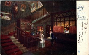 In Dickens Land - Bull Inn staircase, Rochester - old Tuck postcard No. 1164
