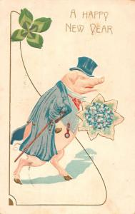 Happy New Year Dressed Pig Four Leaf Clover Antique Postcard K78492