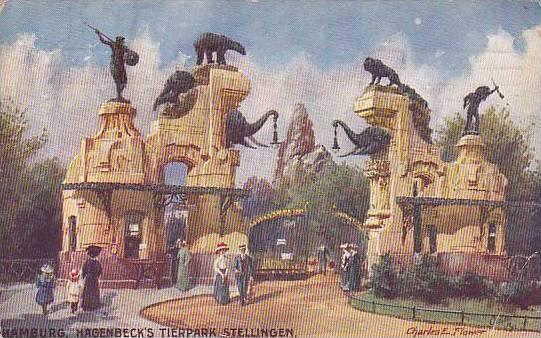 Elephant Head gates, Hagenbeck's Tierpark Stellingen , Hamburg , Germany , pU...