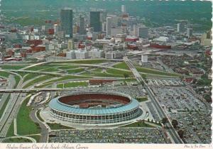 Georgia Atlanta Aerial View Showing Skyline Stadium and Freeways