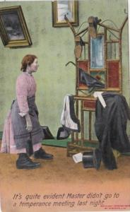Bamforth Humour Woman Looking At Clothes Rack It's Quite Evident Master Didn'...