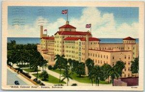 Nassau, Bahamas Postcard British Colonial Hotel Ocean View Curteich Linen 1958