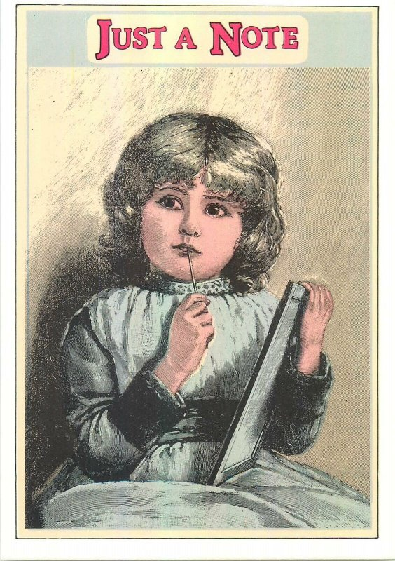 Postcard Victorian Style Greetings Message just a note draw art write dress pen