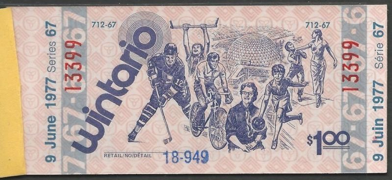 Canada 1977 Wintario $1 Lottery Compl. BOOKLET Unused 5 tickets depicting Sports