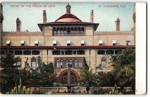 St Augustine, Florida - COURT OF THE PONCE DE LEONN HOTEL - c1905 UDB Postcard