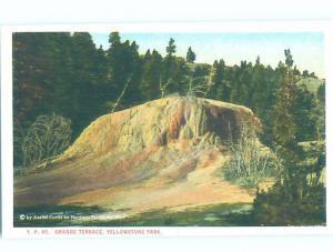 Unused W-Border ORANGE TERRACE Yellowstone National Park Wyoming WY H2536