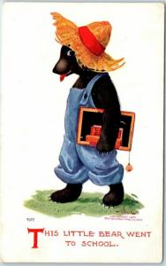 Vintage Artist-Signed WALL Postcard This Little Bear Went to School Dated 1919