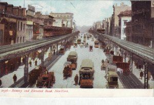 P1356 antique unused postcard the bowery new york heavy traffic with glitter,