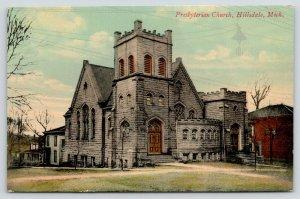 Hillsdale Michigan~Presbyterian Church~Houses Behind Down Street~c1910