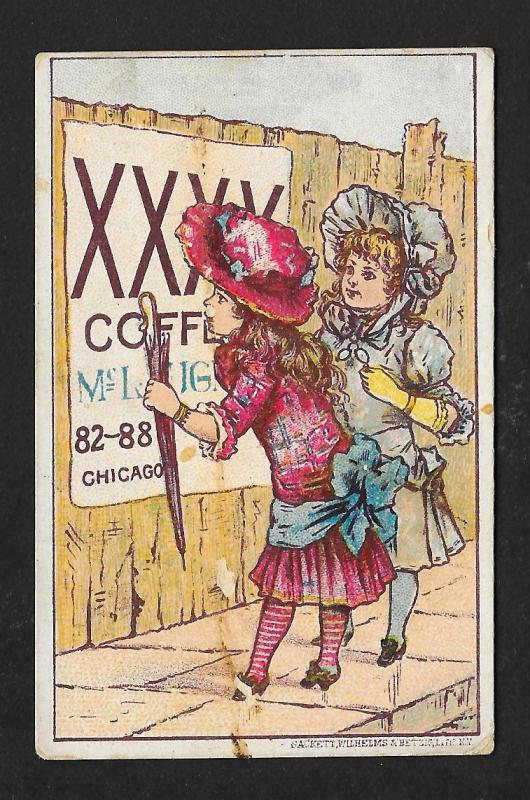 VICTORIAN TRADE CARD WF McLaughlin & Co XXXX Coffee