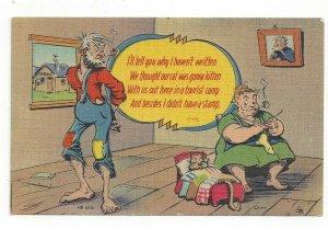 I Haven't Written Hillbilly Vintage Linen Postcard
