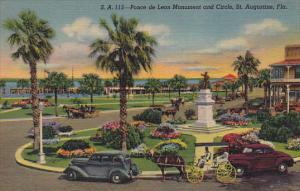 Ponce de Leon Monument and Circle St Augustine Florida Curteich