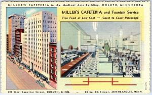Minneapolis, MN Postcard MILLER'S CAFETERIA and Fountain Service Linen 1940s