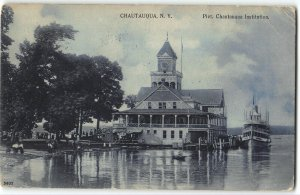 CHAUTAUQUA INSTITUTION Guests, Ship Pier side, Bell Tower - 1907 Postcard