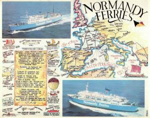 Large 1970s Map Postcard Normandy Ferries Dover Boulogne infographic OS213