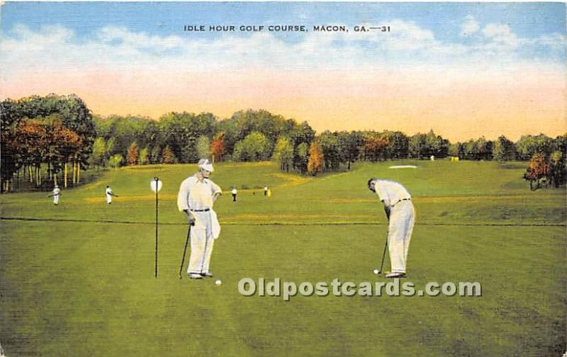 Old Vintage Golf Postcard Post Card Idle Hour Golf Course Macon, Georgia, GA,...