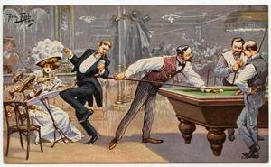 Signed Thiele Table Pool Billiards Game Postcard