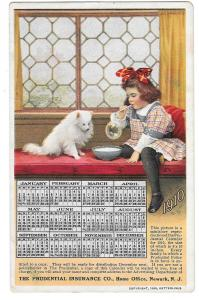 Prudential Insurance Co Girl Dog 1910 Calendar Postcard
