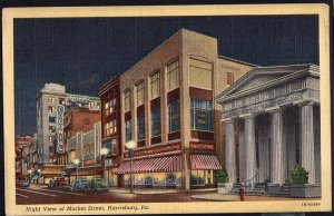 Pennsylvania HARRISBURG Night View of Market Street Cars and Store Fronts LINEN