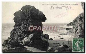 Old Postcard Saint Lunaire Rock and Beach Swallows