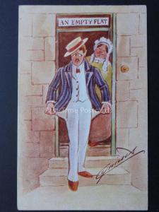 Cynicus: No Money Theme AN EMPTY FLAT C372 - Old Postcard