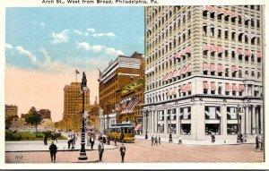 Pennsylvania Philadelphia Trolley On Arch Street West From Broad