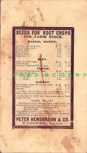 1879 Staten Island NYPostal Card: Seed Pricelist from Pioneer Henderson & Co.