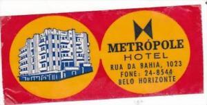 BRASIL BELO HORIZONTE METROPOLE HOTEL VINTAGE LUGGAGE LABEL