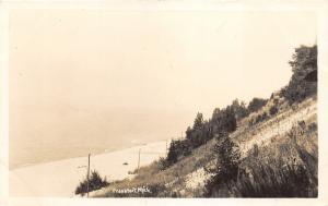 Frankfort MI~View along Lake Michigan Shoreline~Beach & Hill~1930s RPPC-Postcard