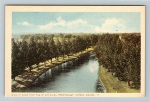 Peterborough Ont. Canada - Scenic Canal View, Top of Lift Rocks Vintage Postcard
